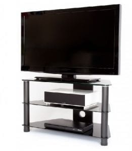 3 Tier Black Glass TV Unit
