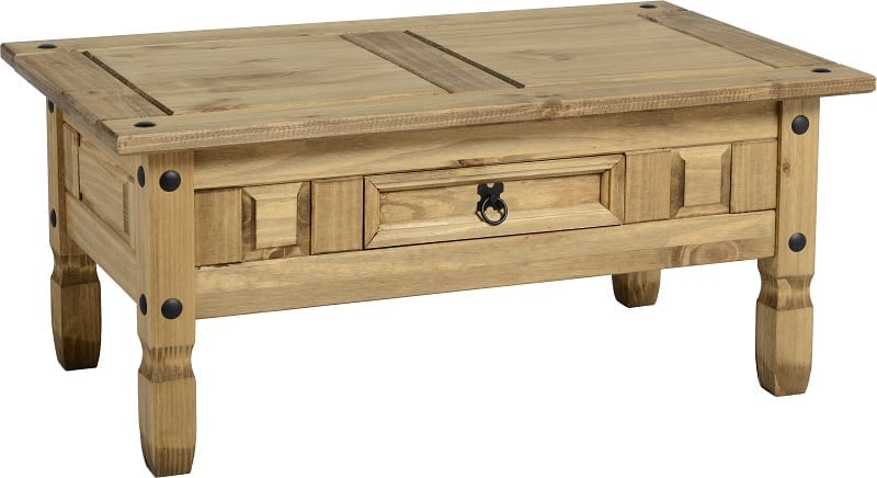 Corona mexican pine coffee table let us furnish for Pine coffee table