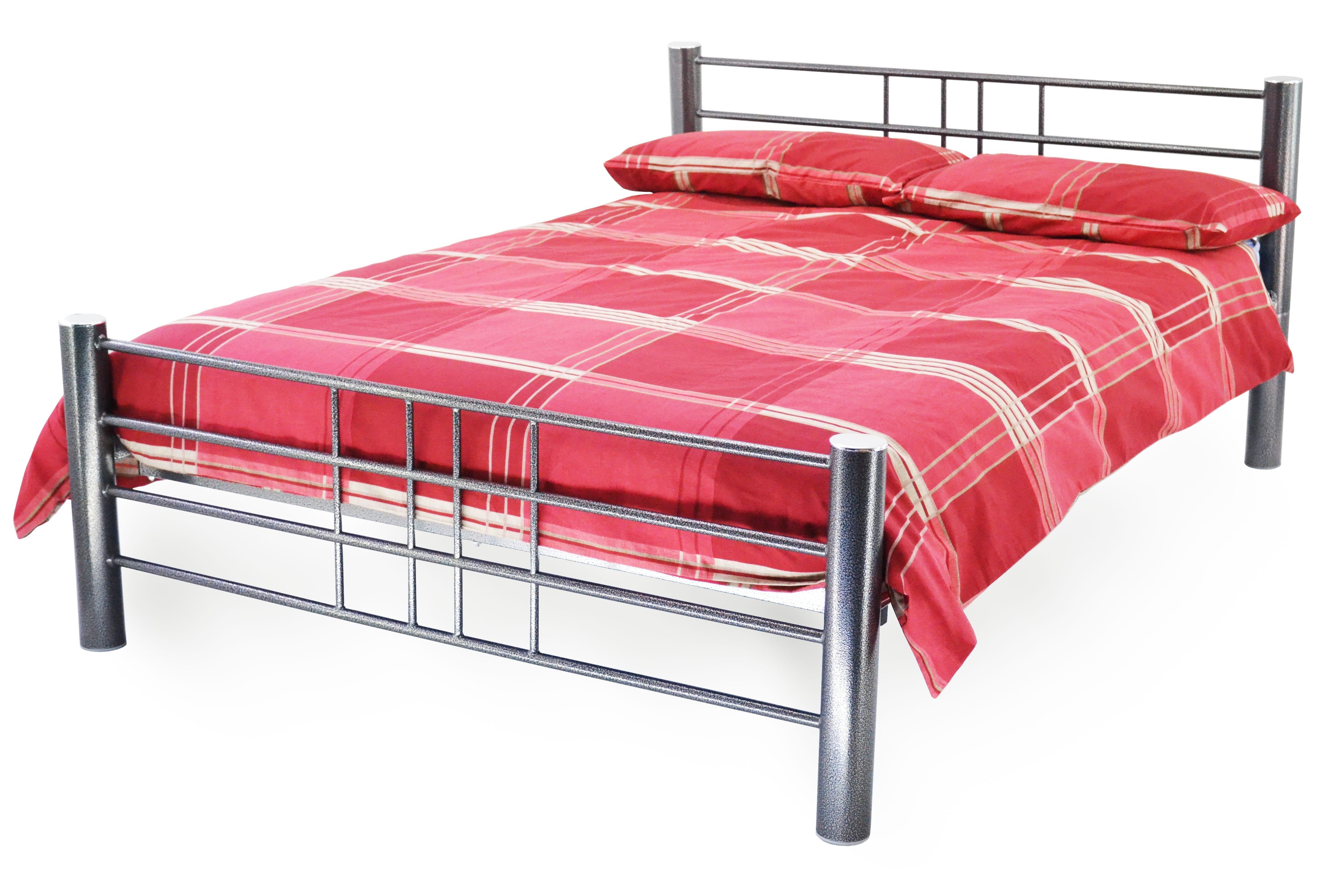 cuba metal bed frame silver hammered - Silver Metal Bed Frame