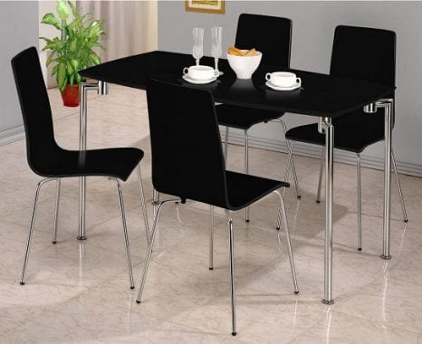 Fiji High Gloss Black Rectangle Dining Set