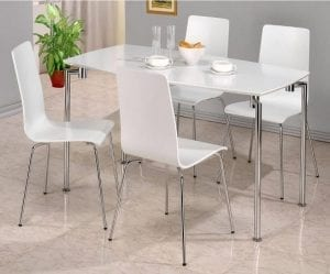 Fiji High Gloss White Rectangle Dining Set