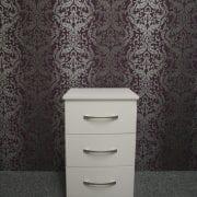 Lisbon White 3 Drawer Bedside
