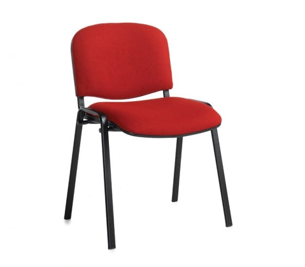 Red Fabric Fixed Frame Chair