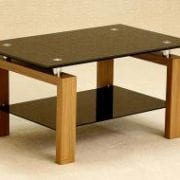 Adina Coffee Table With Black Glass Top / Shelf