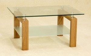 Adina Coffee Table With Clear Glass Top / Shelf