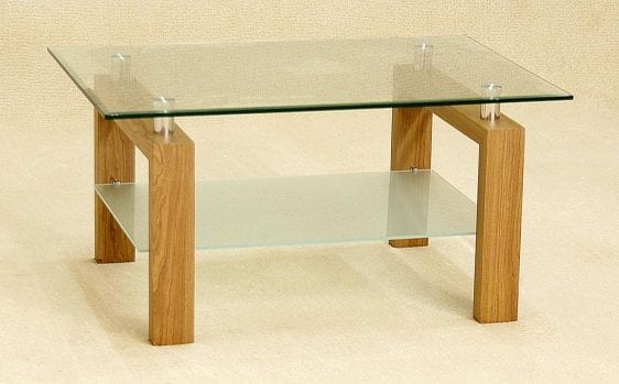 Adina Coffee Table With Clear Glass Top / Shelf
