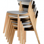 Chairs can be stacked for storage