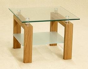 Adina Lamp Table With Clear Glass & Oak Legs