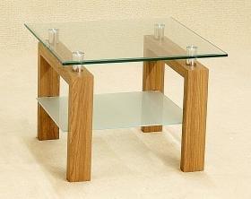 Adina Lamp Table With Clear Glass & Oak Legs