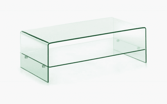Angola Clear Coffee Table with Shelf
