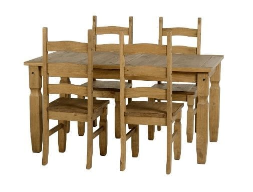 Mexican Pine Dining Set With 5ft Table