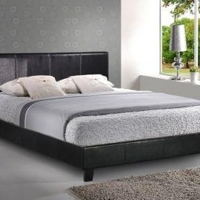 Berlin Black Leather Frame Bed