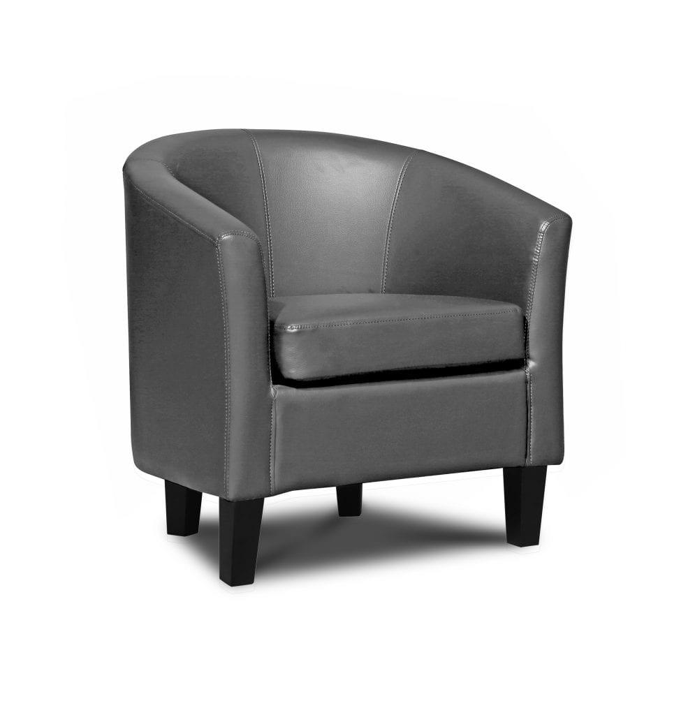 grey pu tub chair let us furnish. Black Bedroom Furniture Sets. Home Design Ideas