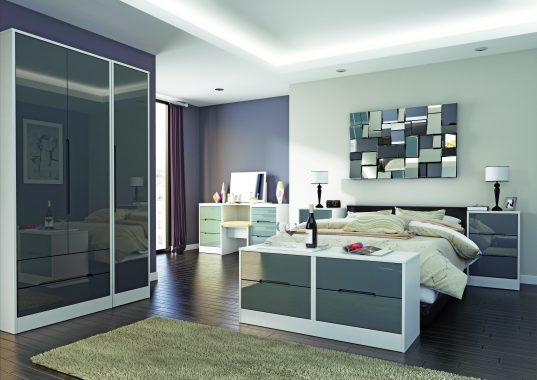 Monaco Grey Gloss with White Room Set