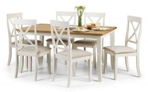 Davenport Dining Set White and Oak Veneer