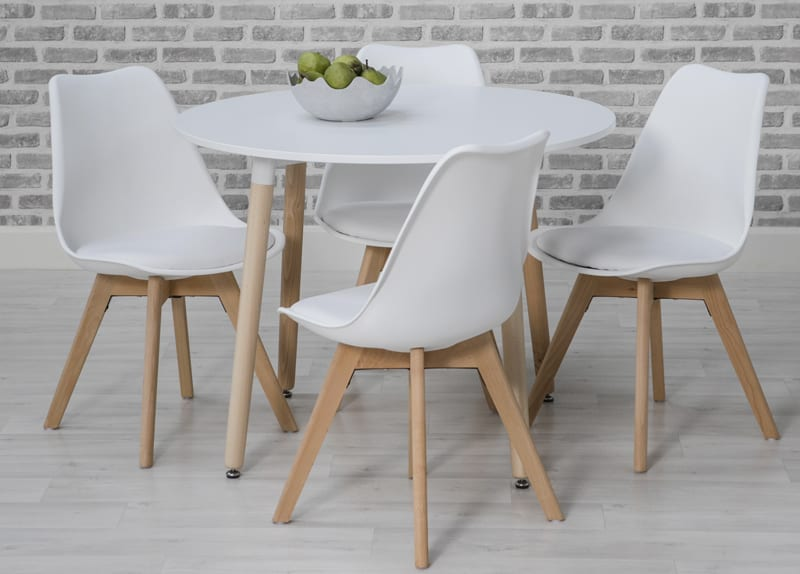 low priced 33e48 a0061 Urban White Round Table with Chairs