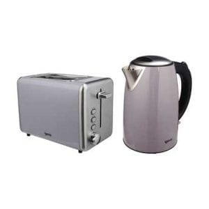 Stainless Steel Grey Kettle & Toaster Set