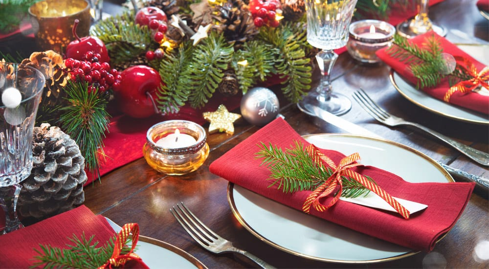 Christmas dinner table set
